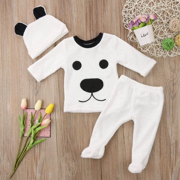2 3 Stuks Lange Mouw Fleece Beer Top Broek En Hoed Set Voor Baby Boy Warme Winter