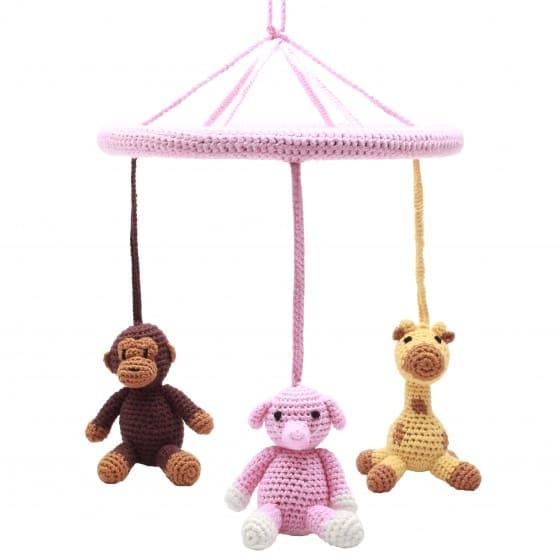 naturezoo mobiel aap olifant giraffe gehaakt junior 24 cm roze 340403 1575456142
