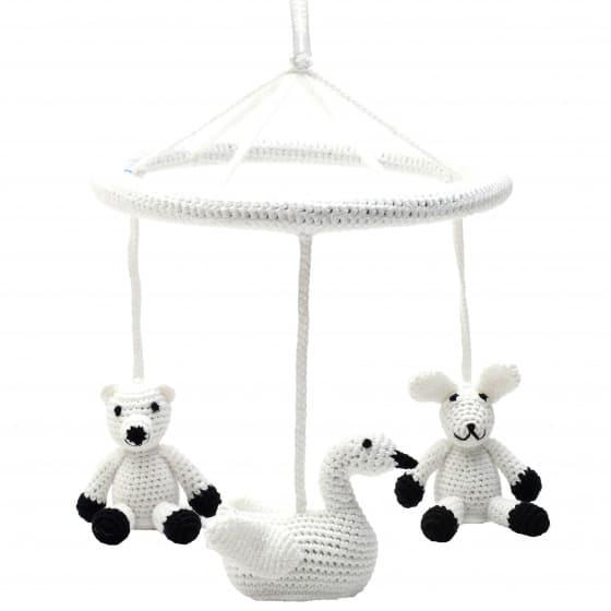 naturezoo mobiel ijsbeer zwaan konijn gehaakt junior 24 cm wit zwart 340435 1575459000
