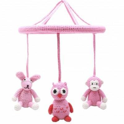 naturezoo mobiel konijn uil aap gehaakt meisjes24 cm roze 340372 1575454828
