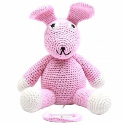 naturezoo muziekdoosje konijn gehaakt 20 cm roze 339371 1575100648