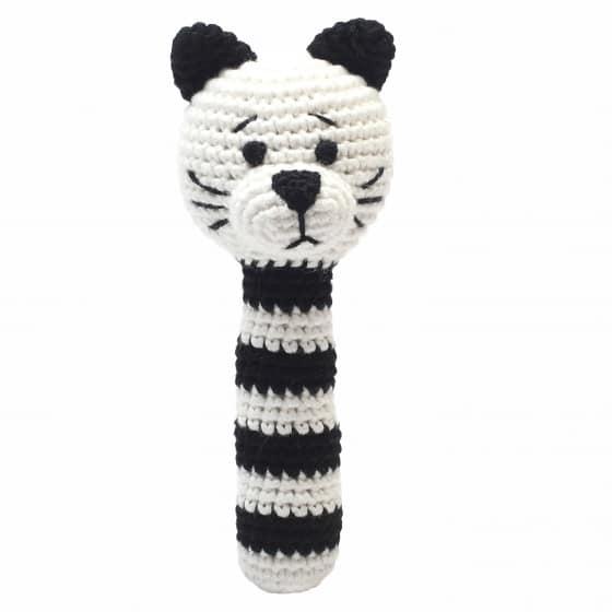 naturezoo rammelaar kat gehaakt 14 cm zwart wit 333021 1573209209