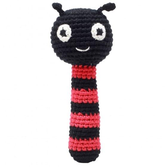 naturezoo rammelaar lieveheersbeestje gehaakt 14 cm zwart rood 333045 1573210884