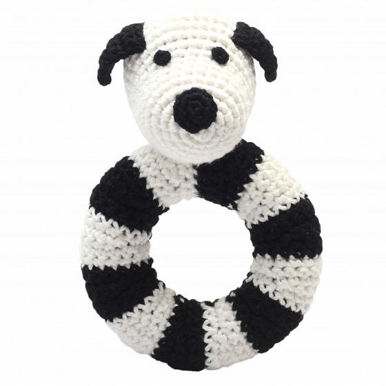naturezoo ringrammelaar hond gehaakt 14 cm zwart wit 333099 1573215678
