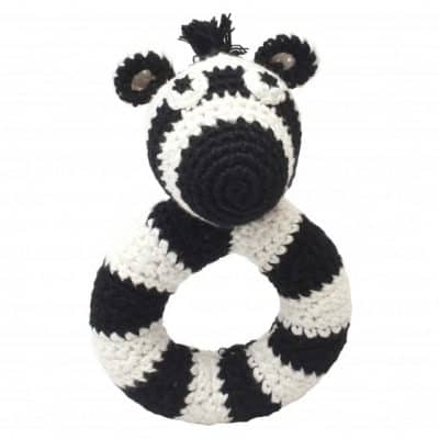 naturezoo ringrammelaar zebra gehaakt 14 cm zwart wit 333067 1573212444
