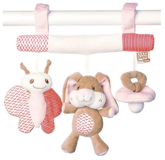 saro kinderwagenhanger met rammelaar little friends roze 349680 1578384129