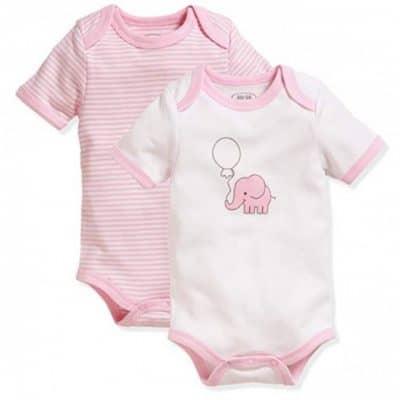 schnizler romper olifant korte mouw roze wit 2 stuks mt 50 56 355333 1579688849
