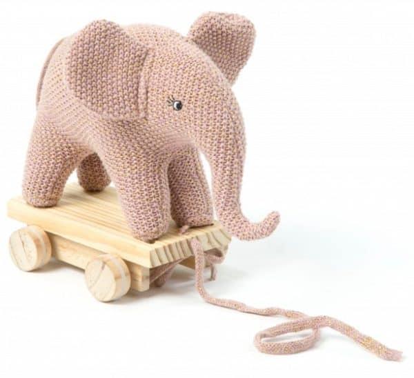 smallstuff trekdier olifant gebreid 20 cm roze 346101 1576939540
