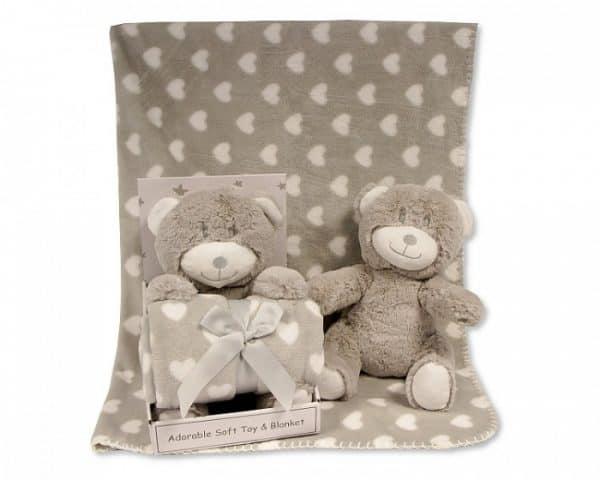 snuggle baby babydeken met knuffelbeer hart 25 cm grijs set 2 delig 354943 1579610534