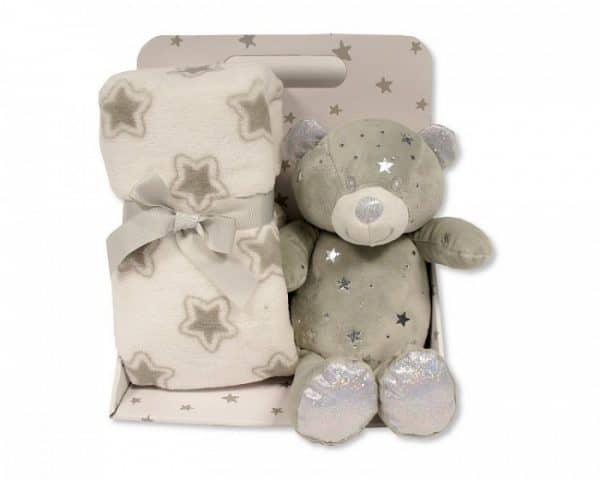 snuggle baby babydeken met knuffelbeer sterren 23 cm grijs set 2 delig 348699 1578041211