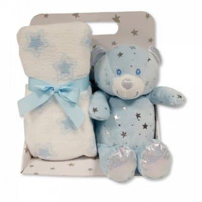 snuggle baby babydeken met knuffelbeer sterren 23 cm lichtblauw set 2 delig 348705 1578041556