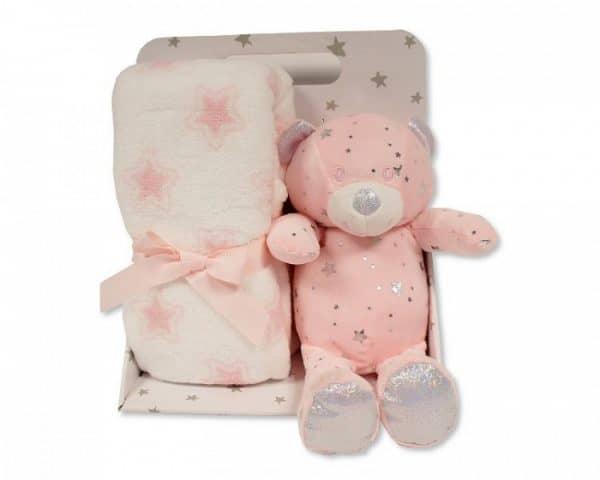 snuggle baby babydeken met knuffelbeer sterren 23 cm roze set 2 delig 348702 1578041408