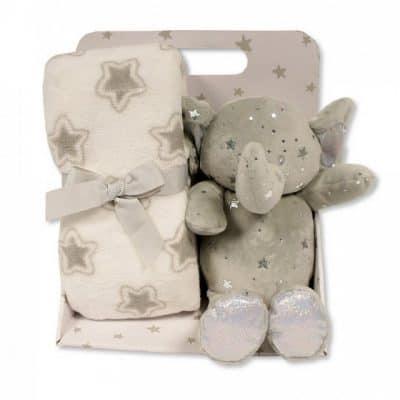 snuggle baby babydeken met knuffelolifant sterren 23 cm grijs set 2 delig 348712 1578042141
