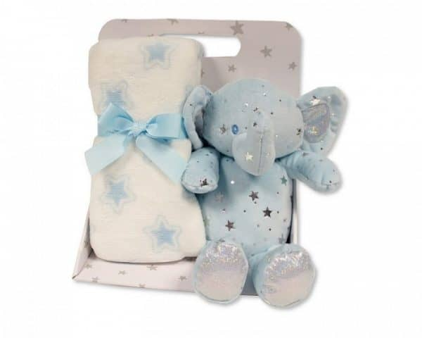 snuggle baby babydeken met knuffelolifant sterren 23 cm lichtblauw set 2 delig 348715 1578042529