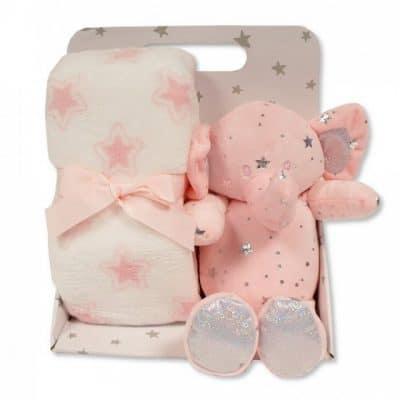 snuggle baby babydeken met knuffelolifant sterren 23 cm roze set 2 delig 348714 1578042410