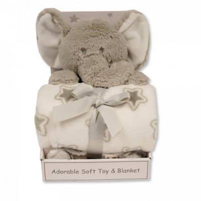 snuggle baby babydeken met knuffelolifant sterren 25 cm grijs set 2 delig 348741 1578044715