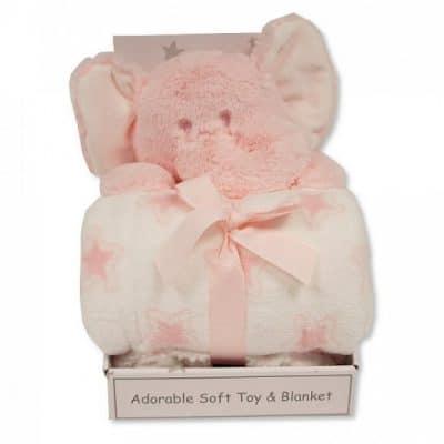 snuggle baby babydeken met knuffelolifant sterren 25 cm roze set 2 delig 348742 1578044818