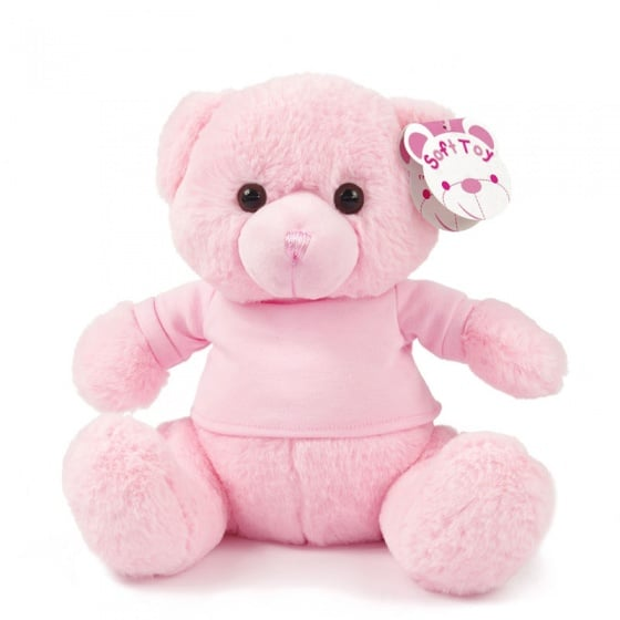 soft touch knuffelbeer met shirt 25 cm roze 338666 1574767381