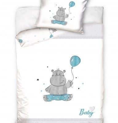 carbotex dekbedovertrek baby hippo 100 x 135 cm wit blauw 332317 1573045656