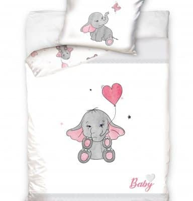 carbotex dekbedovertrek baby hippo olifant 100 x 135 cm wit roze 332325 1573046196