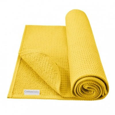 cottonbaby babydeken wafel katoen 75 x 95 cm okergeel 348426 1577968122