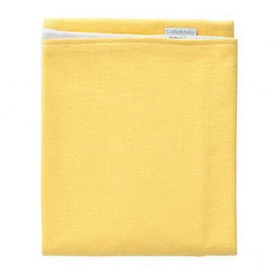 cottonbaby wiegdeken stip katoen 75 x 95 cm geel wit 348606 1578034030