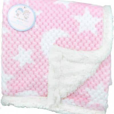 gamberritos babydeken fleece 110 x 140 cm sterren roze wit 383034 1586932668