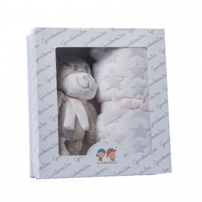 gamberritos babydeken gestipt met knuffel 80 x 110 cm fleece beige 365319 1582721115