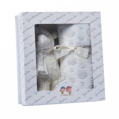 gamberritos babydeken gestipt met knuffel 80 x 110 cm fleece wit 365320 1582721314