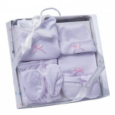 gamberritos babykledingset strikje wit roze one size 6 delig 359835 1580826482