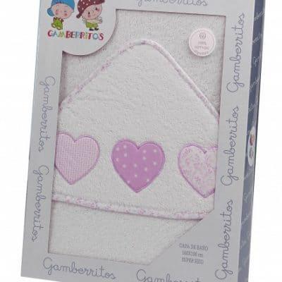 gamberritos badcape hartjes 100 x 100 cm katoen wit roze 364748 1582299096