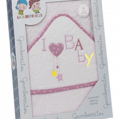 gamberritos badcape i love baby 100 x 100 cm katoen wit roze 364749 1582299220