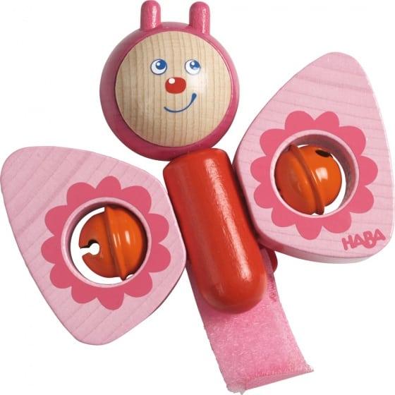 haba houten buggy speelfiguur vlinder 105 cm roze 255345
