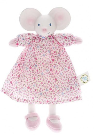 mertex meiya de muis knijp  en bijtknuffeltje wit roze 25 cm 204553