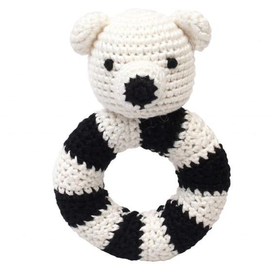 naturezoo ringrammelaar ijsbeer gehaakt 14 cm wit zwart 333089 1573215379
