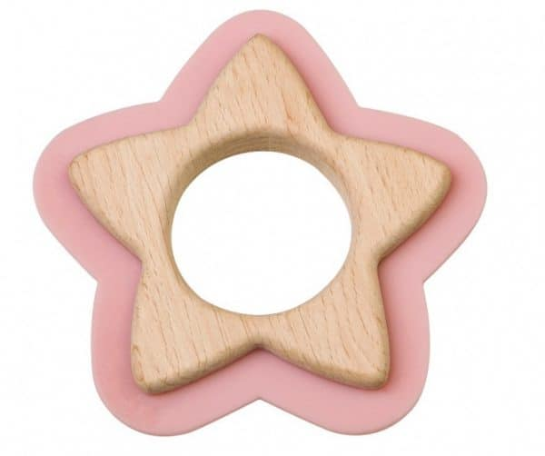 saro bijtspeelgoed ster hout en siliconen 10 cm roze 346718 1577431385