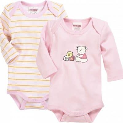 schnizler romper beren lange mouw roze geel 2 stuks mt 50 56 361761 1581329223 1