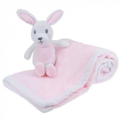 soft touch babydeken met knuffelkonijn 76 x 91 cm roze wit 373270 1585234206