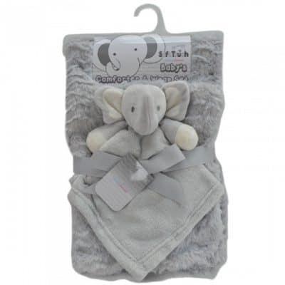 soft touch babydeken met olifantenknuffel 71 x 81 cm grijs 337453 1574407194