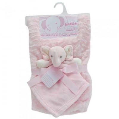 soft touch babydeken met olifantenknuffel 71 x 81 cm roze 337456 1574407274