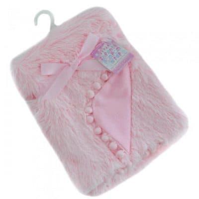 soft touch babydeken pompom deluxe 75 x 100 cm roze 337443 1574405708