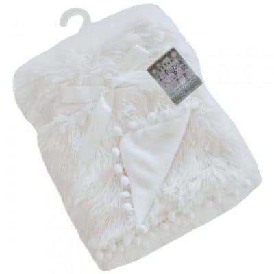 soft touch babydeken pompom deluxe 75 x 100 cm wit 337445 1574405787