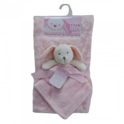 soft touch babydeken rose met knuffel 71 x 81 cm roze 337448 1574406545