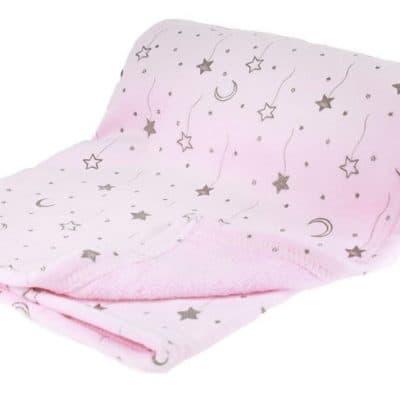 soft touch babydeken sterren en maan 75 x 100 cm roze 338339 1574693487