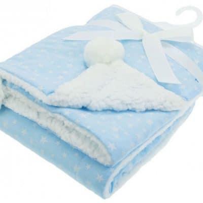 soft touch babydeken sterren pompom 75 x 100 cm blauw 338332 1574692192