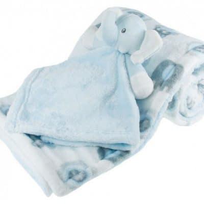 soft touch deken met knuffel olifant 70 x 100 cm wit blauw 338257 1574680880