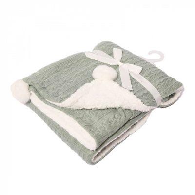 soft touch kabeldeken pompom 75 x 90 cm lichtgroen 373419 1585298822