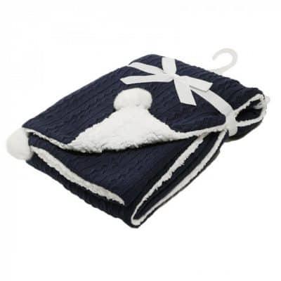 soft touch kabeldeken pompom 75 x 90 cm navy 373417 1585298549