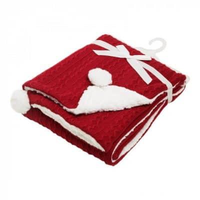 soft touch kabeldeken pompom 75 x 90 cm rood 373413 1585298272