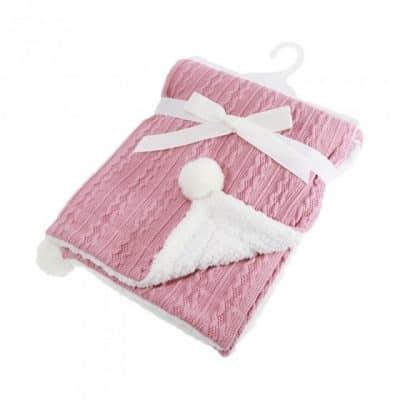 soft touch kabeldeken pompom 75 x 90 cm roze 338244 1574678975